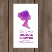 stock photo of ombre  - Bridal shower invitation with watercolor elements and profile silhouttes of man and woman - JPG