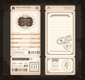 image of passport template  - Old Vintage style Boarding Pass Ticket Wedding card background - JPG