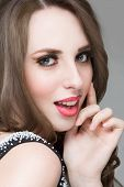 stock photo of purity  - Beautiful portrait of sensual european young woman model with glamour red lips make - JPG
