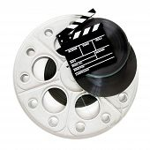 picture of mm  - Movie clapper on 35 mm cinema film reels isolated on white background square frame - JPG