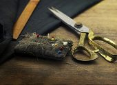 image of tailoring  - Gold scissors pin cushion - JPG