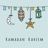stock photo of kareem  - Arabic lanterns flags moon and stars vector illustration background for muslim community holy month Ramadan Kareem - JPG