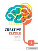 stock photo of left brain  - Creative brain Idea concept background design layout for poster flyer cover brochure - JPG
