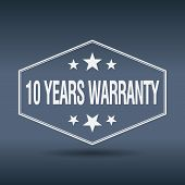 picture of ten years old  - 10 years warranty hexagonal white vintage retro style label - JPG