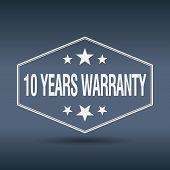 stock photo of ten years old  - 10 years warranty hexagonal white vintage retro style label - JPG