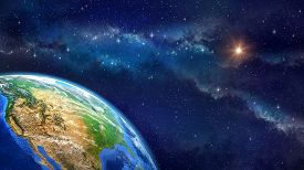 stock photo of outer  - Very high definition picture of planet earth in outer space - JPG