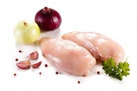 stock photo of turkey-hen  - Raw turkey fillet on white background  - JPG