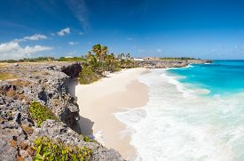 picture of pirates  - Bottom Bay is one of the most beautiful beaches on the Caribbean island of Barbados - JPG