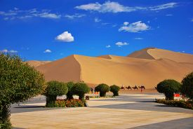 stock photo of oasis  - Crescent Spring Dunhuang oasis Gansu China Trip - JPG