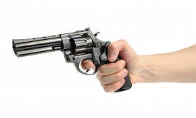 pic of revolver  - Revolver gun in hand on white background - JPG