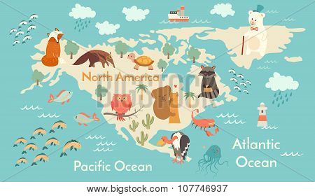 Animals world map north america poster id107746937 animals world map north america poster gumiabroncs Image collections