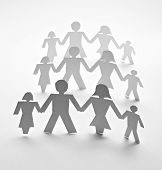 image of crew cut  - close up of people cut out of paper on white background - JPG