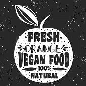 Постер, плакат: Vegan Typographic Print With Orange