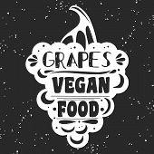 Постер, плакат: Vegan Typographic Print With Grapes