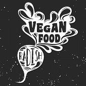 Постер, плакат: Vegan Typographic Print With Radish