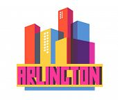 Arlington city travel destination in USA. vector cartoon, poster
