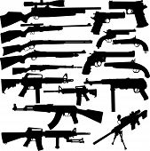 stock photo of ak47  - Vector silhouettes of the most known world legendary samples of pistols - JPG