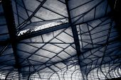 stock photo of canopy roof  - Grid roof canopy of a sports stadium - JPG
