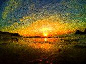 sea sunrise van gogh poster
