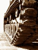 Tank Track and Wheels in Sepia