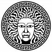 stock photo of perseus  - Illustration of Medusa Gorgon head with snake hair - JPG