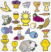 picture of ear candle  - Set of Illustration of a communion depicting traditional Christian symbols including candle  - JPG