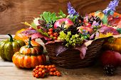 Fall Wicker Basket Table Centerpiece With Squash poster