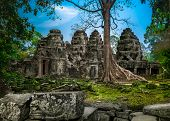 Angkor Wat Temple in Cambodia is the largest religious monument in the world and a World heritage li poster