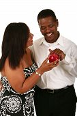 pic of adam eve  - african american couple posing as adam and eve he is touching the apple from her - JPG