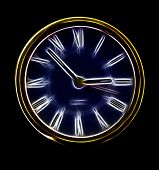 Abstract Artistic Neon Clock Representation