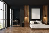 Black And Wooden Bedroom, Home Office poster