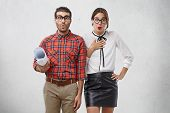 Wow! Emotional Female And Male Dressed Formally, Keep Lips Rounded, Express Wonderment And Surprisme poster