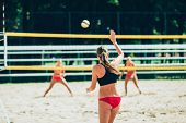 Beach Volleyball, Women Playing Volleyball Outdoors, Color Image poster