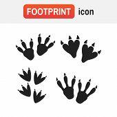 Dinosaur Footprint Vector. Dinosaur Footprint Tracks Vector Set Illustration poster
