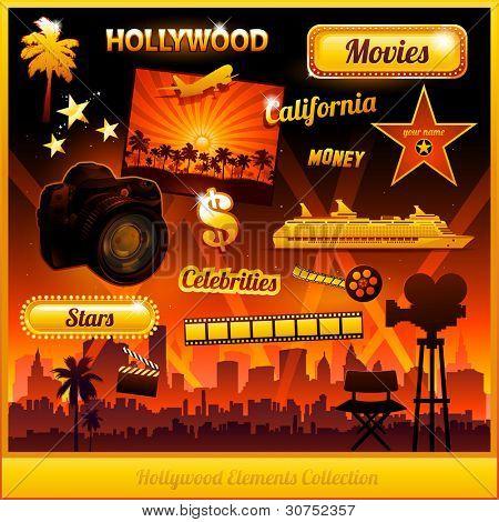 Постер, плакат: Голливудская кино фильм элементы коллекции, холст на подрамнике