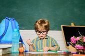 Little Boy Near Desk With School Supplies. School Lessons. Kids Education. School And Education Conc poster