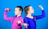 Girls Exercising With Dumbbells. On Way To Stronger Body. Beginner Dumbbells Exercises. Sporty Upbri poster
