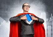 Happy Business Woman Tearing Off Her Shirt And Transforming In Super Heroine. Smiling Business Lady  poster