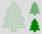 Mesh Fir-tree Model With Triangle Mosaic Icon. Wire Frame Polygonal Mesh Of Fir-tree. Vector Mosaic  poster