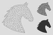 Mesh Horse Head Model With Triangle Mosaic Icon. Wire Frame Triangular Mesh Of Horse Head. Vector Co poster