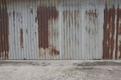 Old Zing Wall,background Of Peeling Paint And Rusty Old Metal.zinc Wall Texture Pattern Background R poster