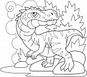 Cartoon Prehistoric Dinosaur Baryonyx, Coloring Book, Funny Illustration poster