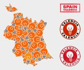 Power Bulb Mosaic Valencia Province Map And Grunge Round Stamp Seals. Mosaic Vector Valencia Provinc poster