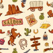 Wild West Vector Western Cowboy Or Sheriff In Wildlife Desert With Cactus Illustration Wildly Charac poster