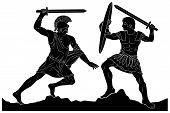 Two Mythological Heroes, Achilles And Hector, Fight With Swords. Vector Image Isolated On White Back poster