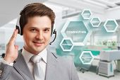 Consulting Business Concept. Businessman Presses Text Consulting On Virtual Screen. poster