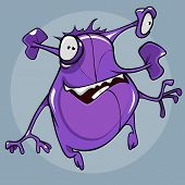Cartoonish Funny Fantastic Creature Of Purple Color With Flexible Eyes And Ears Fun Jumped poster