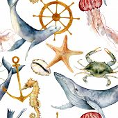 Watercolor Seamless Pattern With Underwater Animals. Hand Painted Whale, Jellyfish, Starfish And Hel poster