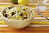 stock photo of quinoa  - Colorful fruit and quinoa salad with pumpkin seeds - JPG
