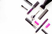 Hairdresser Equipment For Cutting Hair And Styling With Combs, Sciccors, Brushes On White Background poster